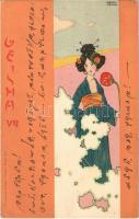 1900 Geisha VII. Christoph Reissers Söhne. Asian style Art Nouveau litho s: Raphael Kirchner - titkosírás / cryptography