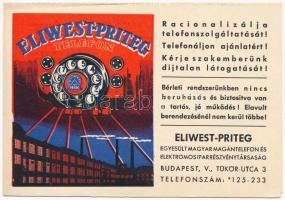 Eliwest-Priteg Telefon. Egyesült Magyar Magántelefon és Elektromos Ipar Részvénytársaság kinyitható reklámlapja / Hungarian telephone company, folding advertising postcard