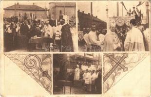 1912-1916 Budapest XIV. Rózsafüzér királynéja templom építése. Auguszta főhercegnő aláírja az alapkőbe falazandó okmányt, floral (fl)
