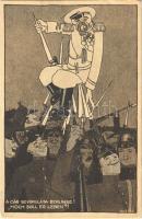 A cár bevonulása Berlinbe! II. Miklós orosz cár. Első világháborús orosz-ellenes katonai propaganda / Hoch Soll Er Leben! / Nicholas II of Russia, WWI humorous anti-Russian military propaganda caricature s: Ékes