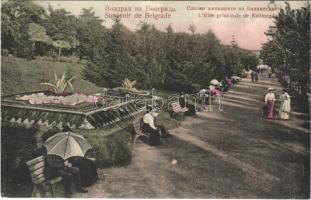 1908 Belgrade, Belgrád, Beograd; Lallée principale de Kalimegdan / castle promenade