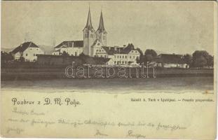 1899 (Vorläufer) Ljubljana, Laibach; Pozdrav z D.M. Polje. Zalozil A. Turk / church