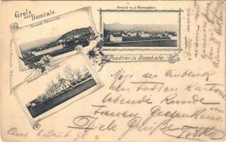 1898 (Vorläufer) Domzale, Domschale; Steineralpen, Bahnhofstrasse / Kamniske Alpe, railway station. Art Nouveau, floral (Rb)