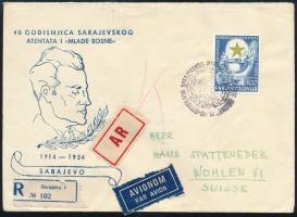 1954 Eszperantó kongresszus 300D ajánlott légi levélen Svájcba / Mi 730 on registered airmail cover to Switzerland