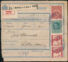 1919 Pénzutalvány osztrák-jugoszláv vegyes bérmentesítéssel / Money order with Austria -Yugoslavia mixed franking MARBURG an der DRAU