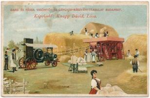 Ganz és Társa Vasöntő- és Gépgyár-Részvénytársulat, Budapest. Képviselő: Knapp Dávid, Léva. cséplőgép / Hungarian Iron Foundry and Machine Factory advertisement, threshing machine. litho (fl)