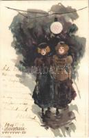 1900 Jégvirágok IX. Korcsolyázó Art Nouveau hölgyek / Eisblumen / Frostwork, ice skating ladies, unisgned Raphael Kirchner art postcard. Kunstanstalt Kosmos litho