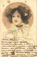 1901 Lady with golden heart. Art Nouveau litho s: Raphael Kirchner