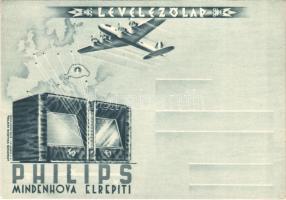 Philips Mindenhova Elrepíti. Irredenta Levelezőlap. Tolnai Nyomda / Philips radio advertisement postcard, Hungarian irredenta propaganda