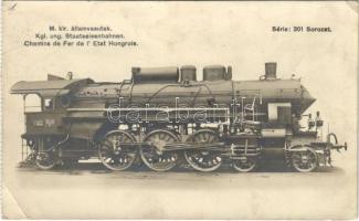 1925 Magyar Királyi Államvasutak (MÁV) 301 sorozatú 501. p. sz. Schmidt túlhevítős compound-rendszerű, pacific jellegű gyorsvonatmozdonya / Locomotive of the Hungarian State Railways. photo (EK)