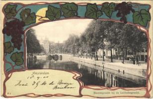 1901 Amsterdam, Heerengracht bij de Laidschegracht. Uitg. Gebr. Douwes / street. Art Nouveau litho
