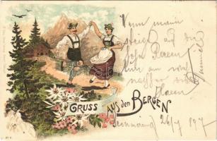 1897 (Vorläufer) Gruss aus den Bergen (Tirol). H. Meinz Art Nouveau, floral, litho + Friedrich Schüler Alpenhotel am Sonnwendstein
