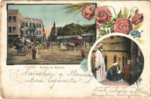 Cairo, Caire, Kairo; Entrée du Mousky, École darabe dans la Mosque Hassan / square, Bazar Mourdur, shops, Arabian school in the mosque. Art Nouveau, floral (worn corners)