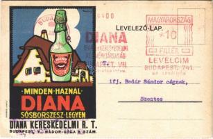 1934 Minden háznál Diana sósborszesz legyen! Diana Kereskedelmi rt. reklám, Budapest, Nádor utca 6. Globus / Hungarian rubbing alcohol advertisement, litho s: Kónya Zoltán (EK)