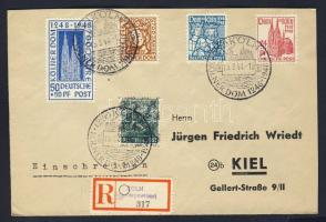 1948 Kölni dóm Mi 69-72 díjkiegészített ajánlott FDC / with additional franking on registered cover