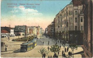 1922 Belgrade, Beograd, Belgrád; Kralja Milana ulica / street view with tram
