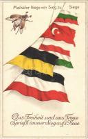 Maikäfer fliege von Sieg zu Siege. Aus Freiheit und aus Treue Spriesst immer Sieg aufs Neue / Központi hatalmak zászlói / Flags of the Central Powers, WWI military propaganda. litho