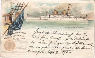 1893 (Vorläufer) US Naval Exhibit, Battleship Illinois. Official Souvenir Postal Worlds Columbian Exposition. Art Nouveau, litho (creases)