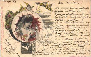 1900 Du Loser schmetterling. A. Sockl Wien I. Fec. Ch. Scolik. Collection Vlan Nr. 555. / Art Nouveau lady with butterfly
