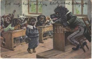 1934 Kutya iskola / Dog school. T.S.N. Serie 1672. s: Arthur Thiele