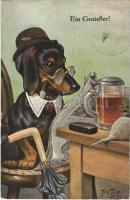 Ein Geneisser! / Tacskó úr újságot olvas / Dachshund dog is reading the newspaper. J.S. & Co. M. Nr. 2637. s: Arthur Thiele (EK)