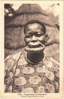 Tányérajkú néger / French Negresses a Plateaux, French Equatorial Africa / African folklore, lip plate