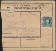 1918 Tábori posta csomagszállító 80H bérmentesítéssel / Field post parcel card with 80H franking FP 617 b