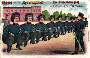 Gruss von der Musterung, Frauenbewegung, Zukunftsbild der Pioniere / inspection, women's movement, future image of pioneers litho, Női mozgalom, nők a hadseregben jövőkép litho