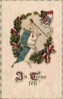 In Treue fest / Firm in Fidelity, Bavarian flag, propaganda litho, Bajor zászló, propaganda litho