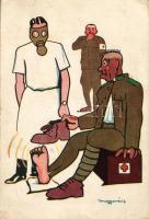 Hungarian humorous military card s: Magyarász 'vissza' So. Stpl, Magyar humoros katonai lap s: Magyarász 'vissza' So. Stpl