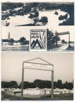 2 db modern magyar ifjúsági építőtáboros fotó képeslap: Rózsa Ferenc Önkéntes ifjúsági építőtábora, Túravezetők Tábora II. Sástó / 2 modern Hungarian photo postcards: youth camps, propaganda
