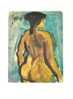 Csepeli Németh Miklós (1934-2012): Női hátakt, 1965. Akvarell, papír, jelzett, paszpartuban. 26,5×20 cm