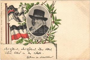1798-1898 August Heinrich Hoffmann von Fallersleben, German poet, best known for writing Das Lied der Deutschen, German patriotic frame with flag (apró lyuk / tiny pinhole)