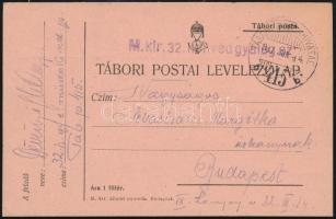 1917 Tábori posta levelezőlap M.kir. 32. honvéd gyalog ezred + TP 415 b