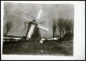 cca 1939 Szélmalmok kívül-belül, Kerny István (1879-1963) budapesti fotóművész hagyatékából 5 db NEGATÍV, 36x24 mm