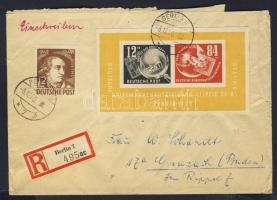1950 Debria blokk ajánlott levélen az NSZK-ba / Mi. block 7 with additional franking on registered cover to West Germany