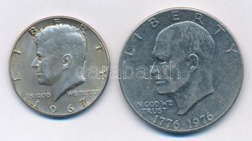 Amerikai Egyesült Államok 1967. 1/2$ Ag Kennedy + 1976. 1$ Cu-Ni Eisenhower - Bicentenárium T:2 USA 1967. 1/2 Dollar Ag Kennedy + 1976. 1 Dollar Cu-Ni Eisenhower - Bicentenárium C:XF
