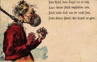 Mother in low humorous card, Anyós humoros lap