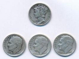 Amerikai Egyesült Államok 1943. 1d Ag Mercury + 1946-1956. 1d Ag Roosevelt (3x) T:2-,3 USA 1943. 1d Ag Mercury + 1946-1956. 1d Ag Roosevelt (3x) C:VF,F Krause KM#140, KM#195