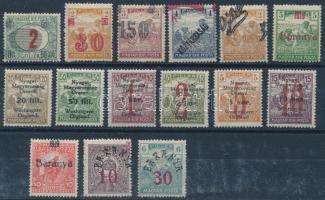 Kis megszállás tétel: 15 klf bélyeg Bodor vizsgálójellel, közte eltolódott felülnyomások, hármaslyukasztás (8.200)