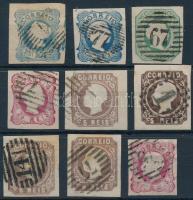 Portugália 1851-1862 9 db bélyeg (Mi EUR 310.-)