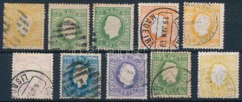 Portugália 1871-1879 10 db bélyeg (Mi EUR min 440.-)
