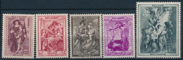 Belgium 1939 Rubens sor 5 értéke benne a záró (Mi EUR 90.-) (kisebb értékeken gumihibák, az 5Fr jó minőség / gum disturbance on small values, 5Fr good quality)