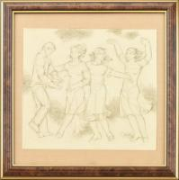 B. Séday Mária (1925-2009): Táncoló négyes. Ceruza, papír, jelzett. Üvegezett keretben. 15×17 cm