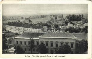 1939 Léva, Levice; Piarista gimnázium, várrom / Levicky hrad / grammar school, castle ruins (Rb)