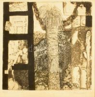 Maurer Dóra (1937-): Holtak háza (Pompeji sorozat 1.), 1963. Rézkarc, vegyes technika, papír, jelzett, számozott (50/39). Üvegezett fa keretben, 16x16 cm. Egy másik példánya reprodukálva: Artmagazin, 94. lapszám, 2007, az interneten lehívható https://www.artmagazin.hu/articles/archivum/03e5128e43afdd6bba58f0bf6a9fd461 alatt.
