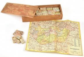 Térkép domino -Magyarország közigazgatása. Kirakós játék, térképpel. Komplett, fa dobozzal