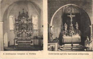 1930 Dobóruszka, Ruská; templom új főoltára, belső, Dobó István egri hős hamvainak sírkápolnája / church interior, main altar, tomb chapel of Dobó István (fl)