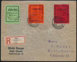 Deutsches Reich 1923 Ajánlott levél készpénz bérmentesítést igazoló 3 különböző címkével HALLE Ritka!! (boríték gyűrött / creased cover)