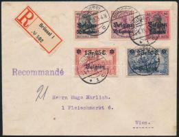Német megszállás Belgiumban 1915 Ajánlott levél a forgalmi sor magas értékeivel Bécsbe